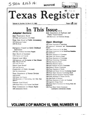 Primary view of object titled 'Texas Register, Volume 14, Number 18, Part II, Pages 1277-1322, March 10, 1989'.