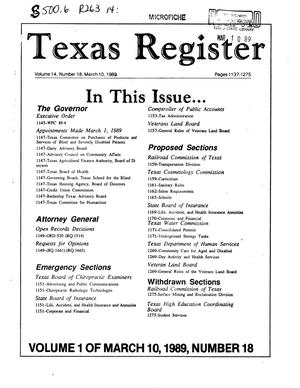 Primary view of object titled 'Texas Register, Volume 14, Number 18, Part I, Pages 1137-1275, March 10, 1989'.