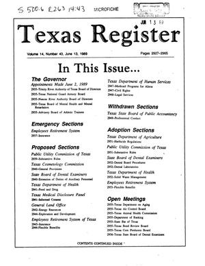 Primary view of Texas Register, Volume 14, Number 43, Pages 2927-2965, June 13, 1989