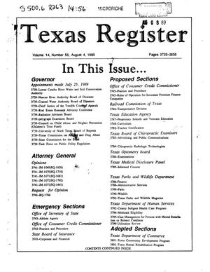 Texas Register, Volume 14, Number 56, Pages 3725-3858, August 4, 1989
