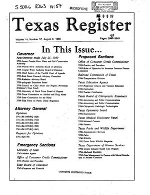 Primary view of object titled 'Texas Register, Volume 14, Number 57, Pages [3859]-3949, August 8, 1989'.