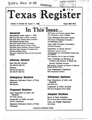 Texas Register, Volume 14, Number 58, Pages 3953-4016, August 11, 1989