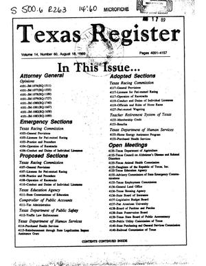 Primary view of object titled 'Texas Register, Volume 14, Number 60, Pages 4091-4157 , August 18, 1989'.