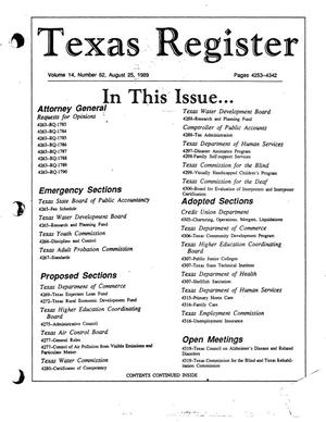 Primary view of object titled 'Texas Register, Volume 14, Number 62, Pages 4253-4342 , August 25, 1989'.