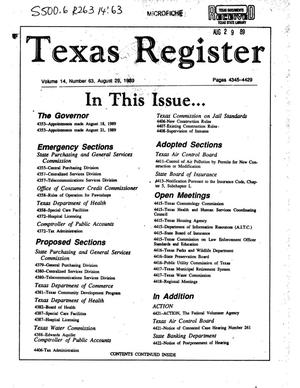 Primary view of object titled 'Texas Register, Volume 14, Number 63, Pages 4345-4429 , August 29, 1989'.