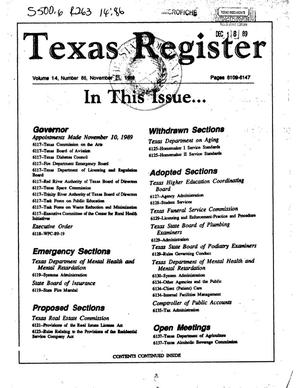 Primary view of object titled 'Texas Register, Volume 14, Number 86, Pages 6109-6147, November 21, 1989'.