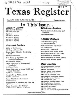 Primary view of object titled 'Texas Register, Volume 14, Number 87, Pages 6149-6200, November 24, 1989'.