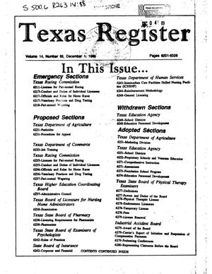 Primary view of object titled 'Texas Register, Volume 14, Number 88, Pages 6201-6326, December 1, 1989'.