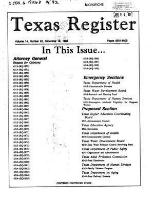 Primary view of object titled 'Texas Register, Volume 14, Number 92, Pages 6501-6605, December 15, 1989'.