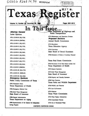Primary view of object titled 'Texas Register, Volume 14, Number [94], Pages 6691-6812, December 22, 1989'.