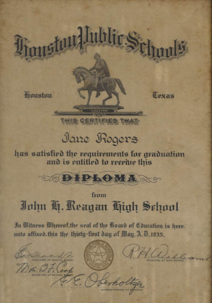 jane rodgers framed diploma from john reagon high school houston  descriptionbookmark this section
