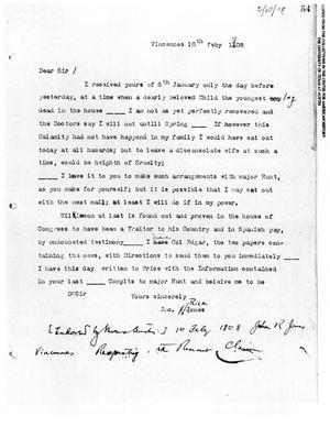 Primary view of [Transcript of letter from John Rice Jones, February 10, 1808]