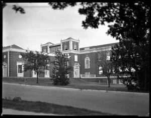 Primary view of object titled '[Science Building, west side toward Main Auditorium]'.
