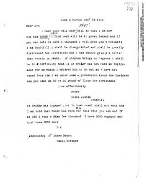 Primary view of [Transcript of letter from Moses Austin to James Bryan, December 18, 1814]