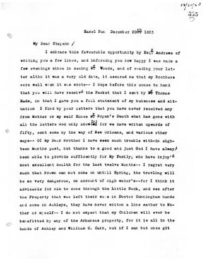 Primary view of [Transcript of letter from Emily M. Austin Bryan to Stephen F. Austin, December 20, 1823]
