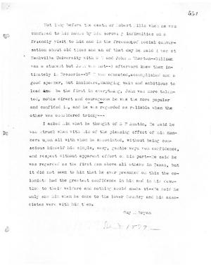 Primary view of object titled '[Transcript of Guy M. Bryan's statement concerning Stephen F. Austin, 1879]'.
