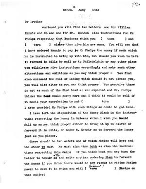 Primary view of [Transcript of letter from Stephen F. Austin to James Bryan, January 1814]