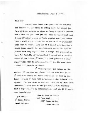 Primary view of [Transcript of Letter from Moses Austin to James Bryan, June 6, 1817]