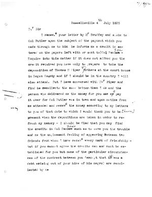 Primary view of [Transcript of Letter from Joseph Ficklin to Moses Austin, July 4, 1820]