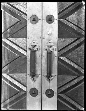 Primary view of object titled '[Door handles of the Little Chapel-in-the-Woods]'.