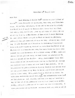 Primary view of [Transcript of Letter from Martin Ruggles to James Bryan, August 23, 1820]