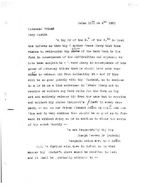 Primary view of [Transcript of letter from Joseph Reeves Jr. and Bejamin Acton to Mary Austin, November 4, 1820]