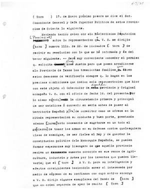 Primary view of object titled '[Transcript of letter from Josef Erasmo Seguín, January 17, 1821]'.