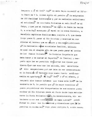 Primary view of object titled '[Transcript of Letter from Antonio Martinez, August 14, 1821]'.