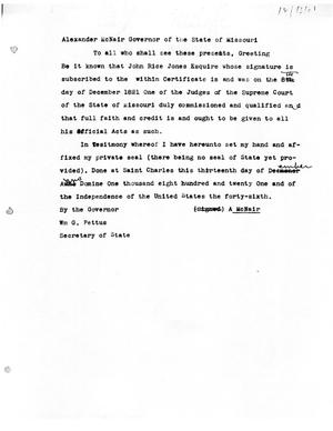 Primary view of [Transcript of announcement from Missouri Governor Alexander McNair naming John Rice Jones a state Supreme Court Judge, December 13, 1821]