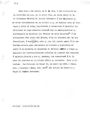 Primary view of [Transcript of Letter from Rafael Gonzales, April 23, 1825]