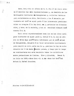 Primary view of object titled '[Transcript of Letter to Rafael Gonzáles, July 8, 1825]'.