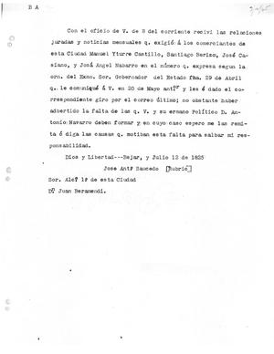 Primary view of [Transcript of letter from José Antonio Salcedo to Juan Veramendi, July 12, 1825]