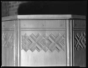 Primary view of object titled '[Little Chapel-in-the-Woods pulpit decorative carvings close-up]'.
