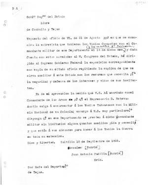 Primary view of [Transcript of letter from Juan Antonio Padilla to Stephen F. Austin, September 10, 1825]