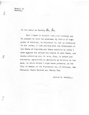 Primary view of object titled '[Transcript of letter from Arthur G. Wavell to Baron de Bastrop, February 18, 1826]'.