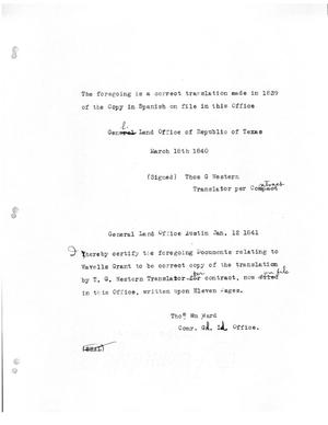[Transcript of note by translator Thomas G. Western verifying translation of Wavell's colonization grant, March 18, 1840]