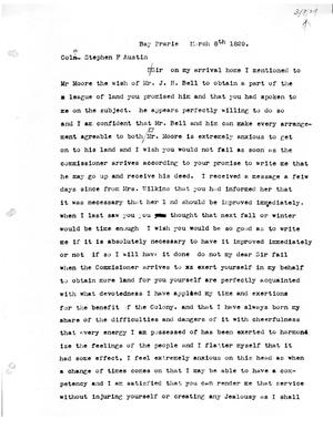 Primary view of [Transcript of letter from Thomas M. Duke to Stephen F. Austin, March 8, 1829]