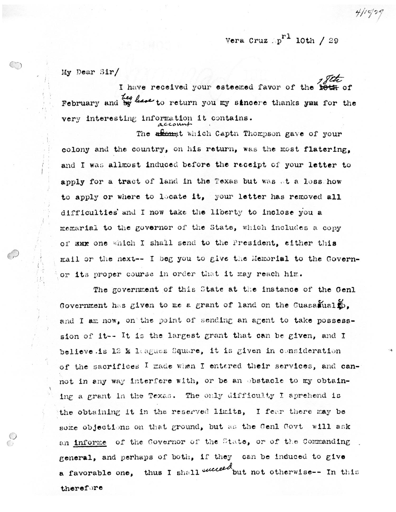 [Transcript of letter from David Porter to Stephen F. Austin, April 10, 1829]                                                                                                      [Sequence #]: 1 of 3