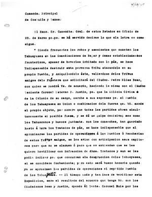 Primary view of [Transcript of letter from Antonio Elozua to Stephen F. Austin, April 13, 1829]