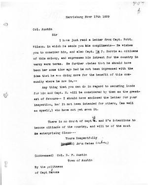 Primary view of [Transcript of letter from John Gates to Stephen F. Austin, November 1829]