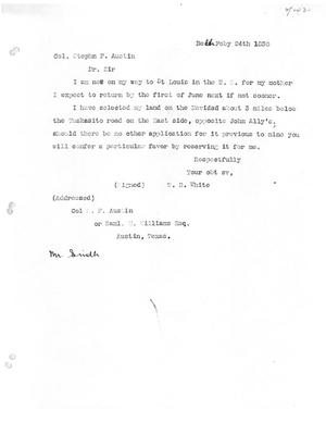 [Transcript of letter from W. B. White to Stephen F. Austin, February 24, 1830]