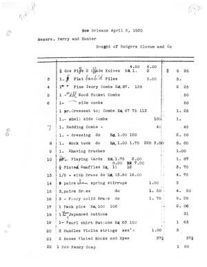 Primary view of [Transcript of invoice for goods purchased at Rodgers, Slocum, and Co., April 6, 1830]