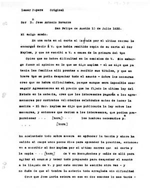Primary view of [Transcript of letter from Stephen F. Austin to José Antonio Navarro, July 13, 1830]
