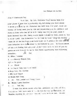 Primary view of [Transcript of letter from W. W. Hunter to John G. Stevenson, April [1831]]