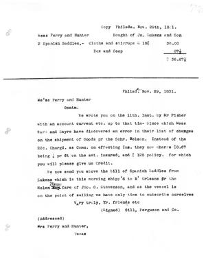 Primary view of [Transcript of letter from Gill, Ferguson and Co. to Perry and Hunter, November 29, 1831