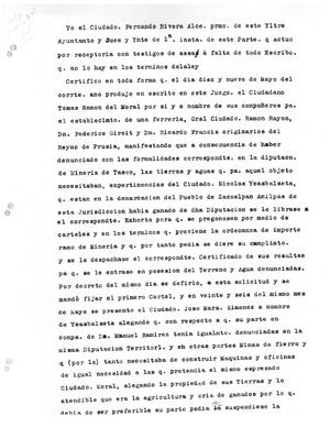 Primary view of object titled '[Transcript of Letter from Fernando Rivera]'.