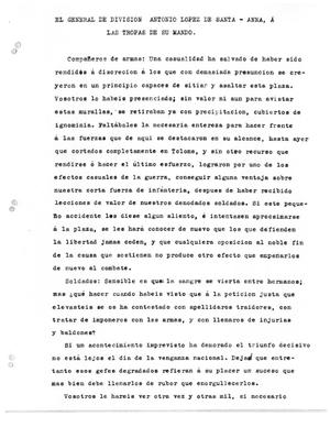 Primary view of object titled '[Transcript of announcement from Antonio López de Santa Anna to his troops, March 4, 1832]'.