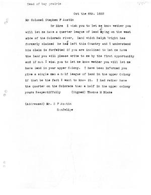 Primary view of [Transcript of letter from Thomas M. Blake to Stephen F. Austin, October 6, 1832]