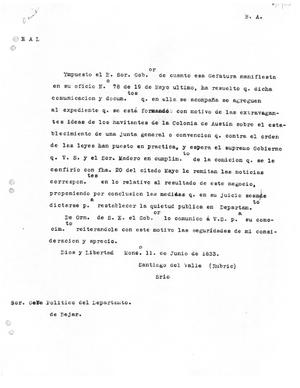 Primary view of [Transcript of letter from Santiago Del Valle, June 11, 1833]