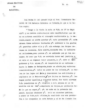 Primary view of object titled '[Transcript of letter from Juan Zenteno, June 6, 1835]'.